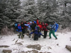 Leading a women's backpacking trip at Warren Wilson College