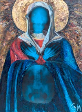 Virgin Mary, 2014, x-ray miximg with oil on canvas, 100 x 80 cm