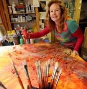 Caption: Artist Alce Harfield at work in her Dean studio near Shepton Mallet. Photographer: Fran Stothard. Date: 23 Feb 2010 Reporter;: John Hudson Copyright: Bristol News & Media.
