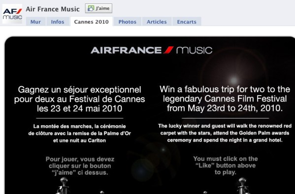 Air France Facebook content - French