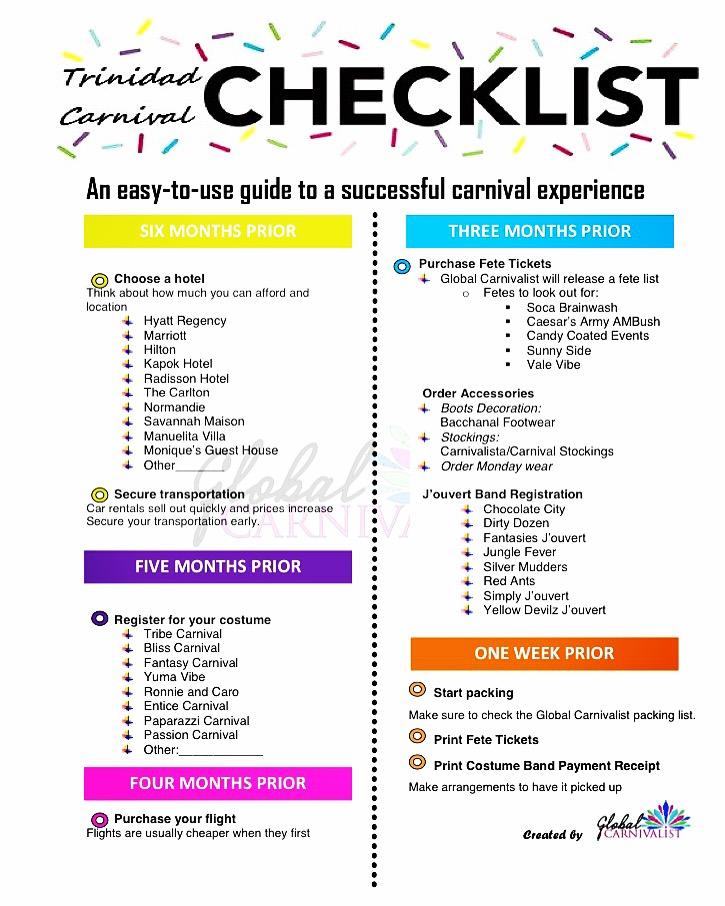Trinidad Carnival 2017 Checklist