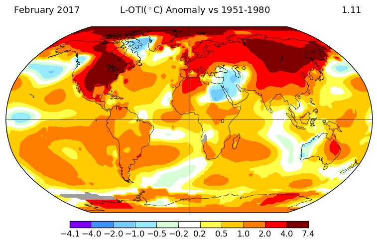 Nouvelle hausse de la température mondiale en février 2017, selon la NASA