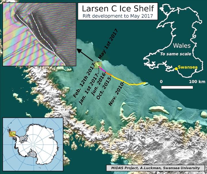 Faille de la plateforme Larsen C : une nouvelle branche s'est formée