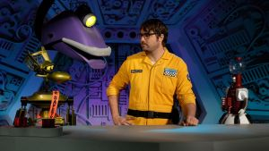 A still from Mystery Science Theater 3000 showing Jonah and the bots.