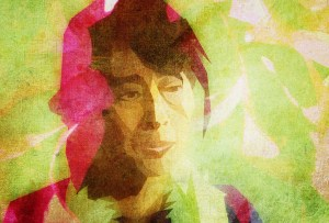 Aung San Suu Kyi in a stylized portrait