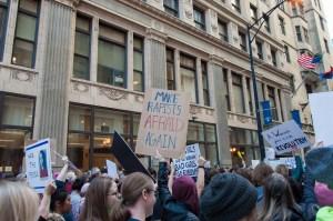 A protest sign: Make rapists afraid again