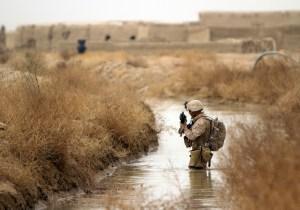 A marine conducting a sweep