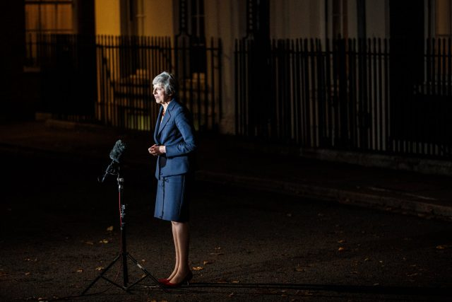 Theresa may making remarks