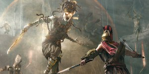 a still featuring two assassin's creed odyssey characters facing off in battle