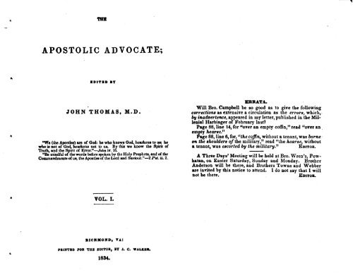 My Apostolic Apology Vol. 3 – The Curse of The Episcopacy