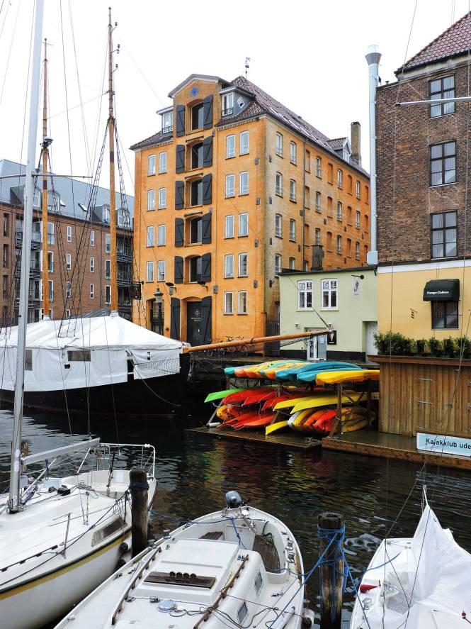 Kayaks on a Copenhagen canal