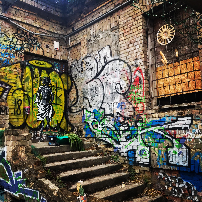 Jonas Mekas Draft graffiti in Uzupis Vilnius, Lithuania
