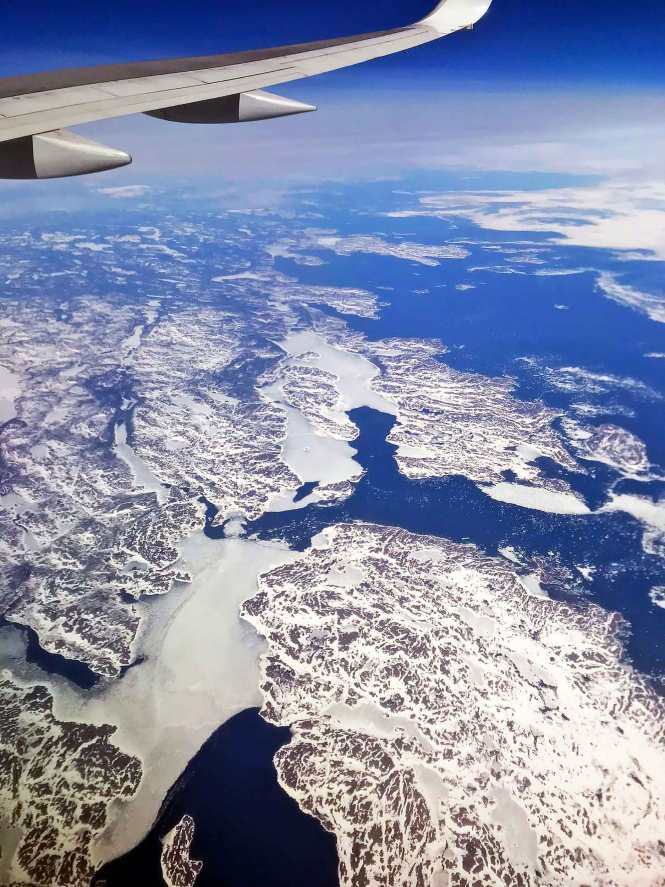 greenland view from flight