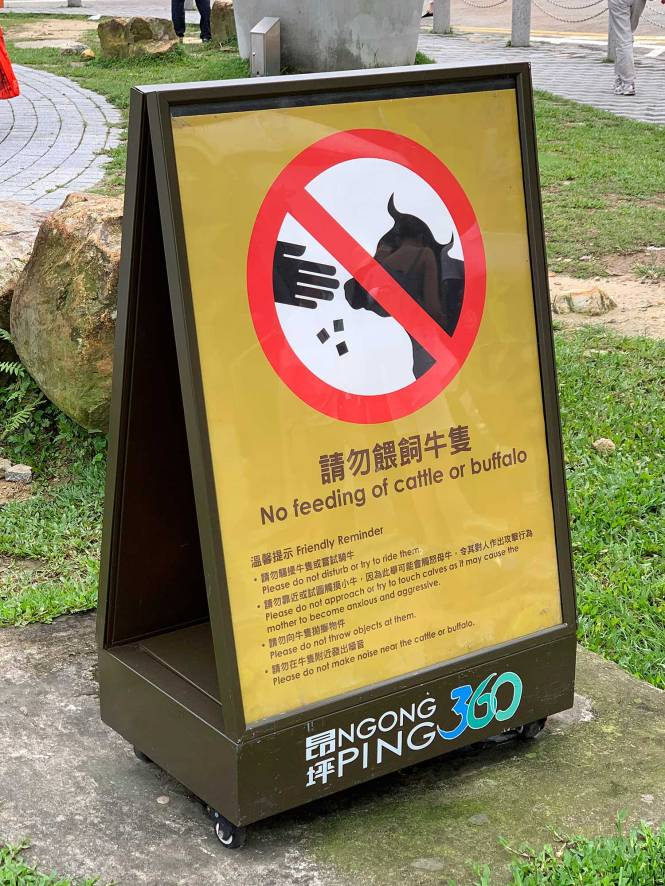 """Don't feed the cattle"" sign at Tian Tan Buddha in Hong Kong"