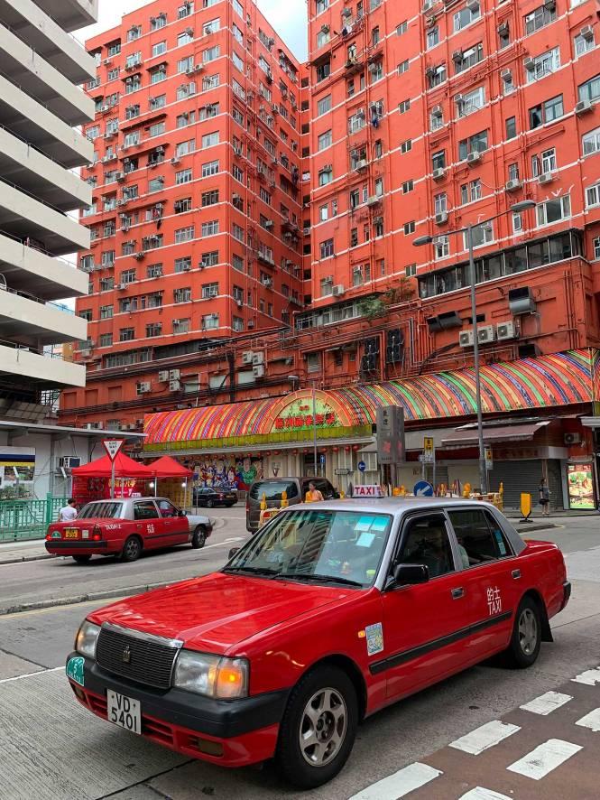 Temple Street Night Market buildings in Hong Kong