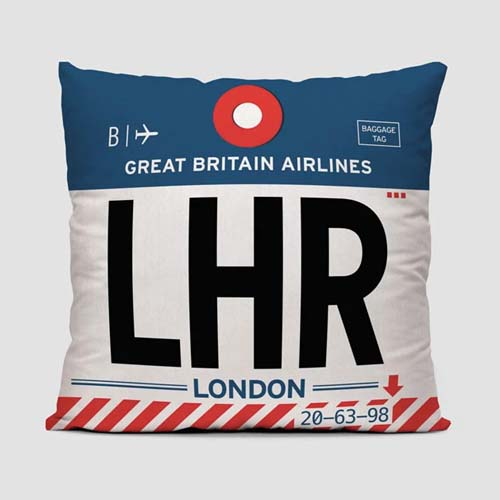 London airport code Airportag throw pillow