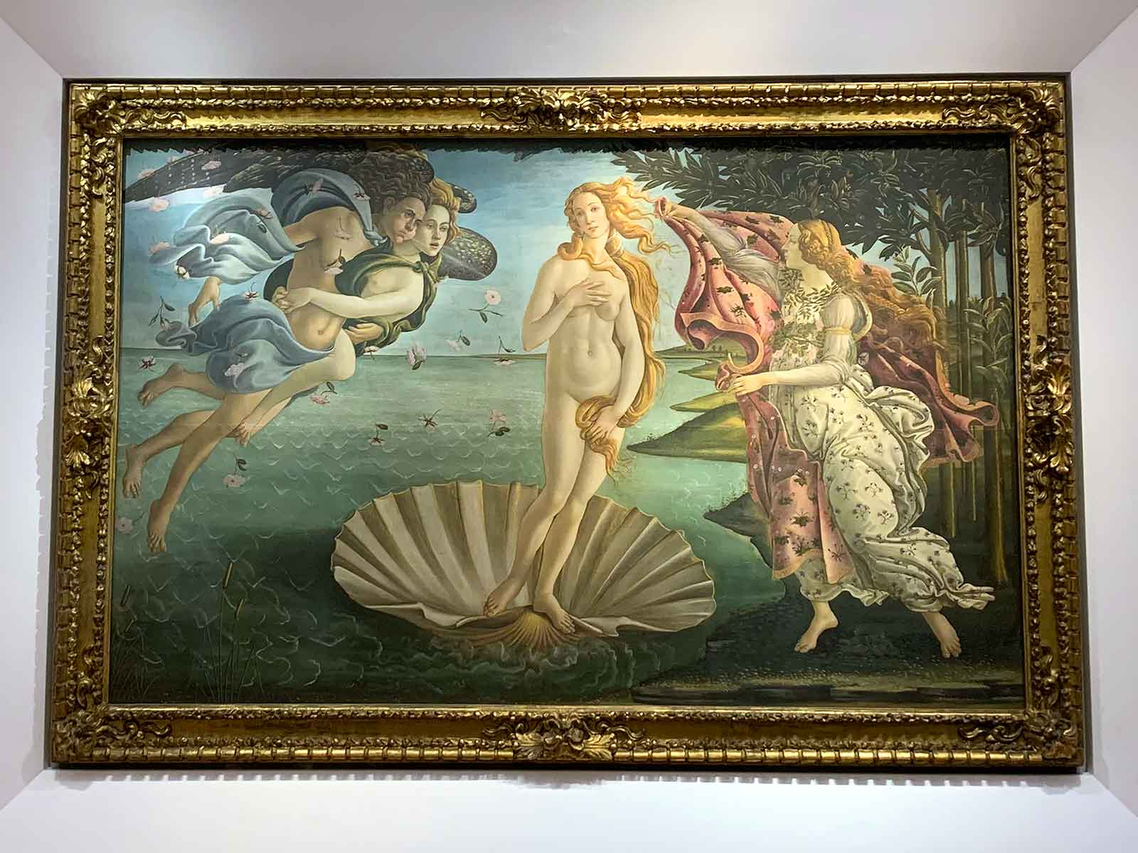 The Birth of Venus painting by Botticelli in the Uffizi