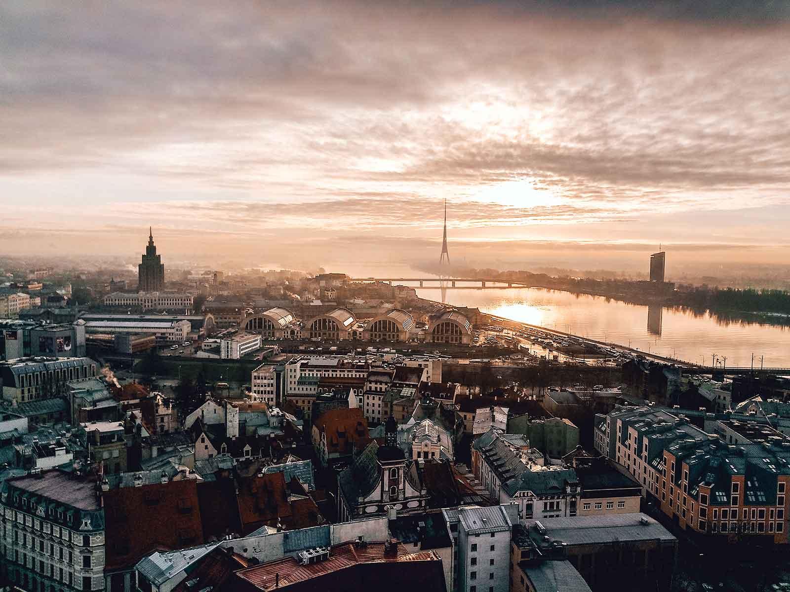 Panoramic view of Riga Latvia