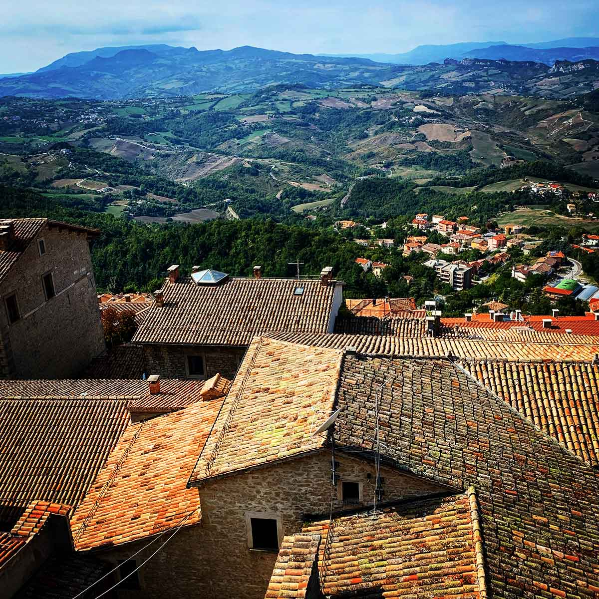 View of Italian countryside from San Marino mountaintop