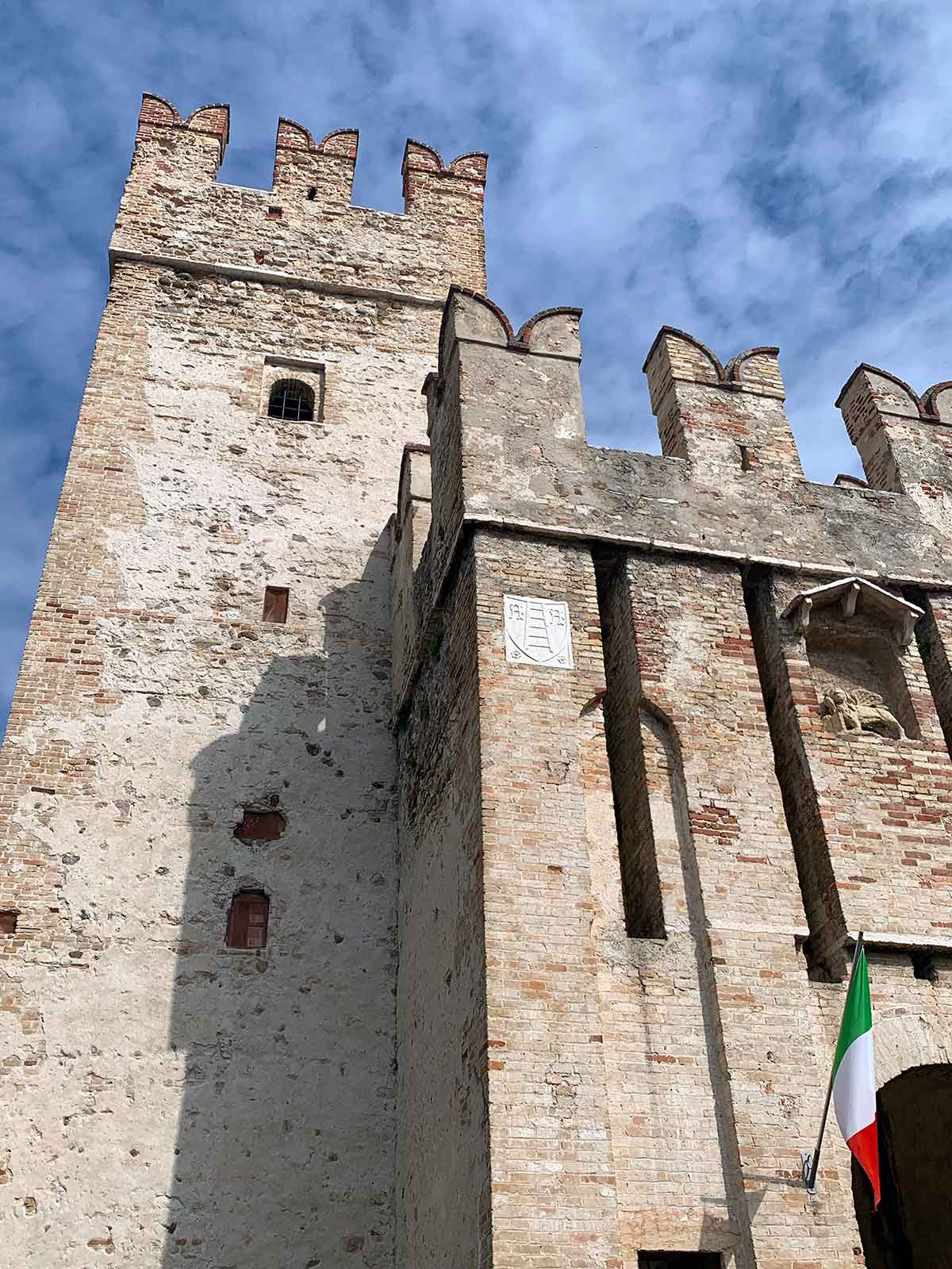 Sirmione Castle entrance in Lake Garda, Italy