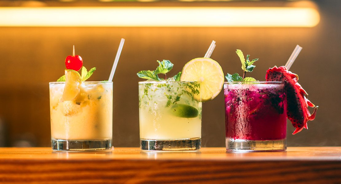 Series of colorful cocktails