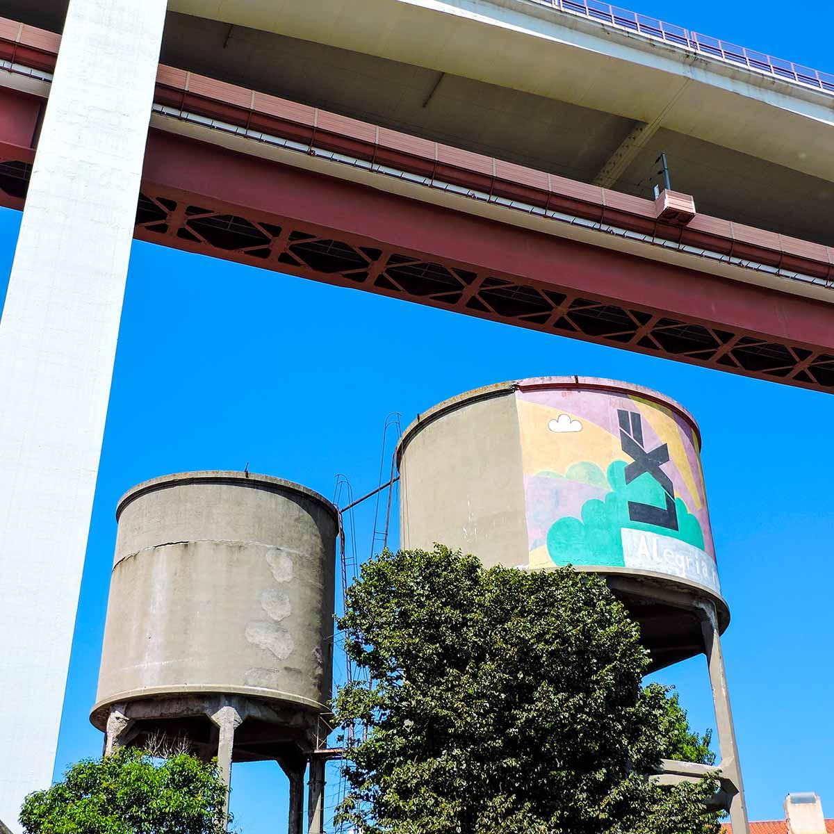 LX Factory water tanks in Belem