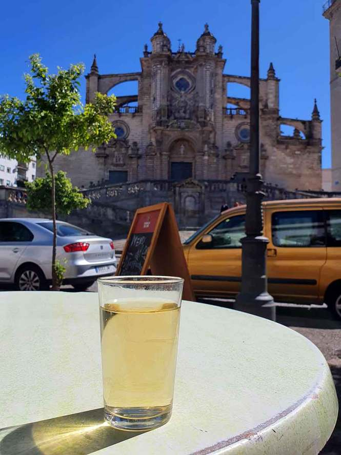 "Mosto drink in front of a church for ""Interesting Liquors from Around the World"""