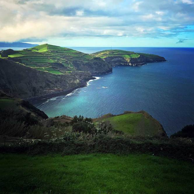 Coastline while hiking in the Azores