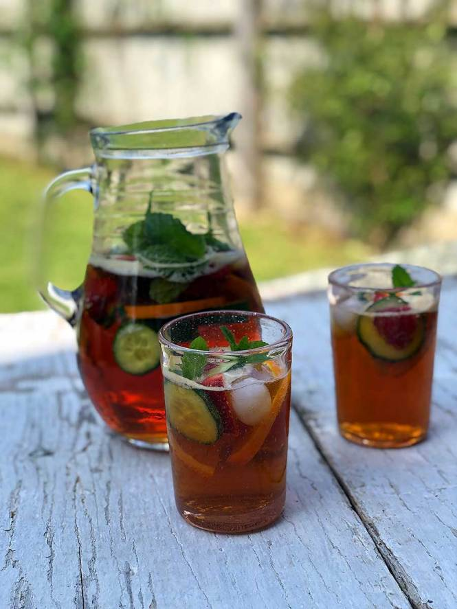 Pimms pitcher with served drinks
