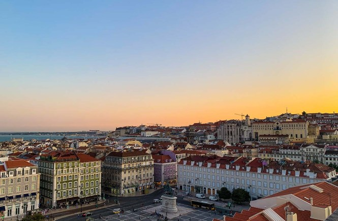 Sunset over downtown Lisbon