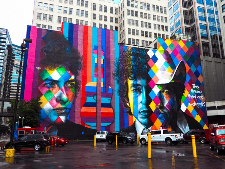Bob Dylan mural in Minneapolis
