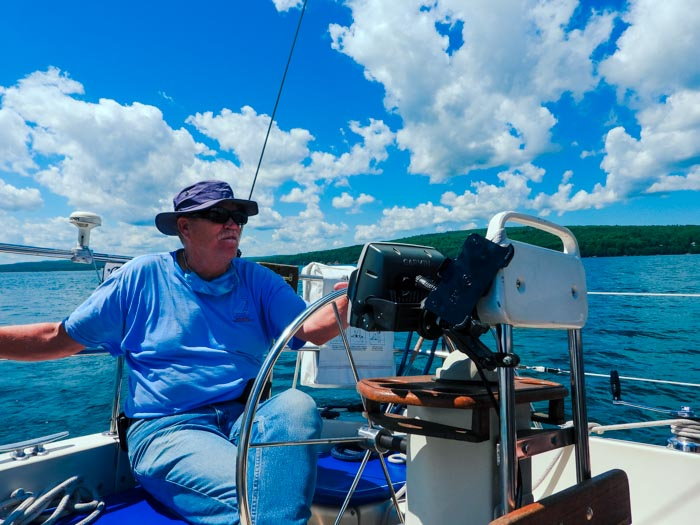 Captain Paul at the helm