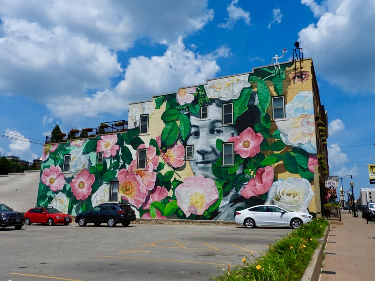 Flower street art in Dubuque, Iowa, America's Heartland town