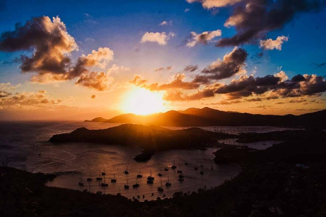 Sunset from a lookout point in Antigua