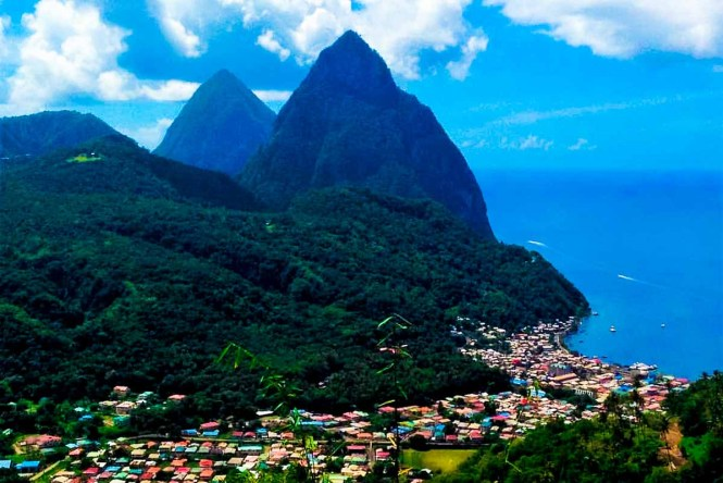 The Pitons in Saint Lucia, one of the best Caribbean islands to visit.