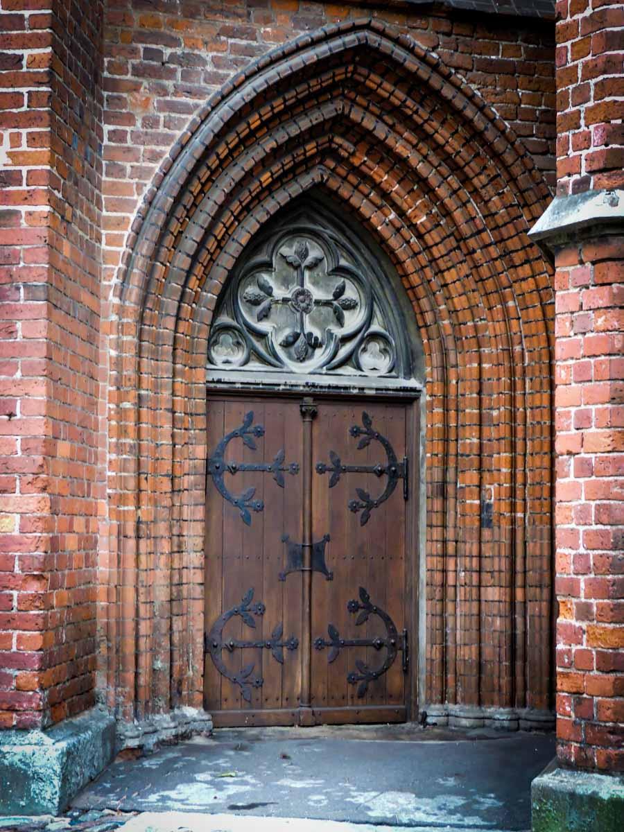 St Peter's Church door in Riga, Latvia