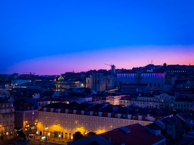 The sun setting over downtown Lisbon