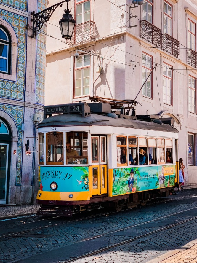 Colorful tram in downtown Lisbon