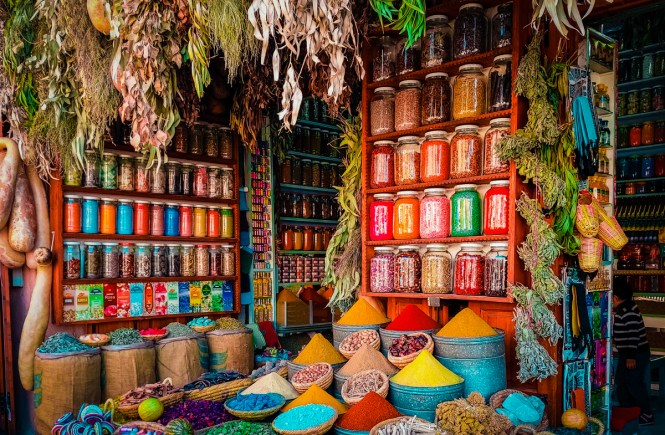 Colorful spices in Morocco
