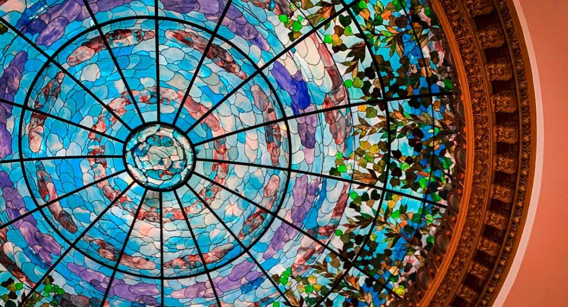 The Dome Bar ceiling in Hotel Paso Del Norte, the best of the best hotels in El Paso, TX