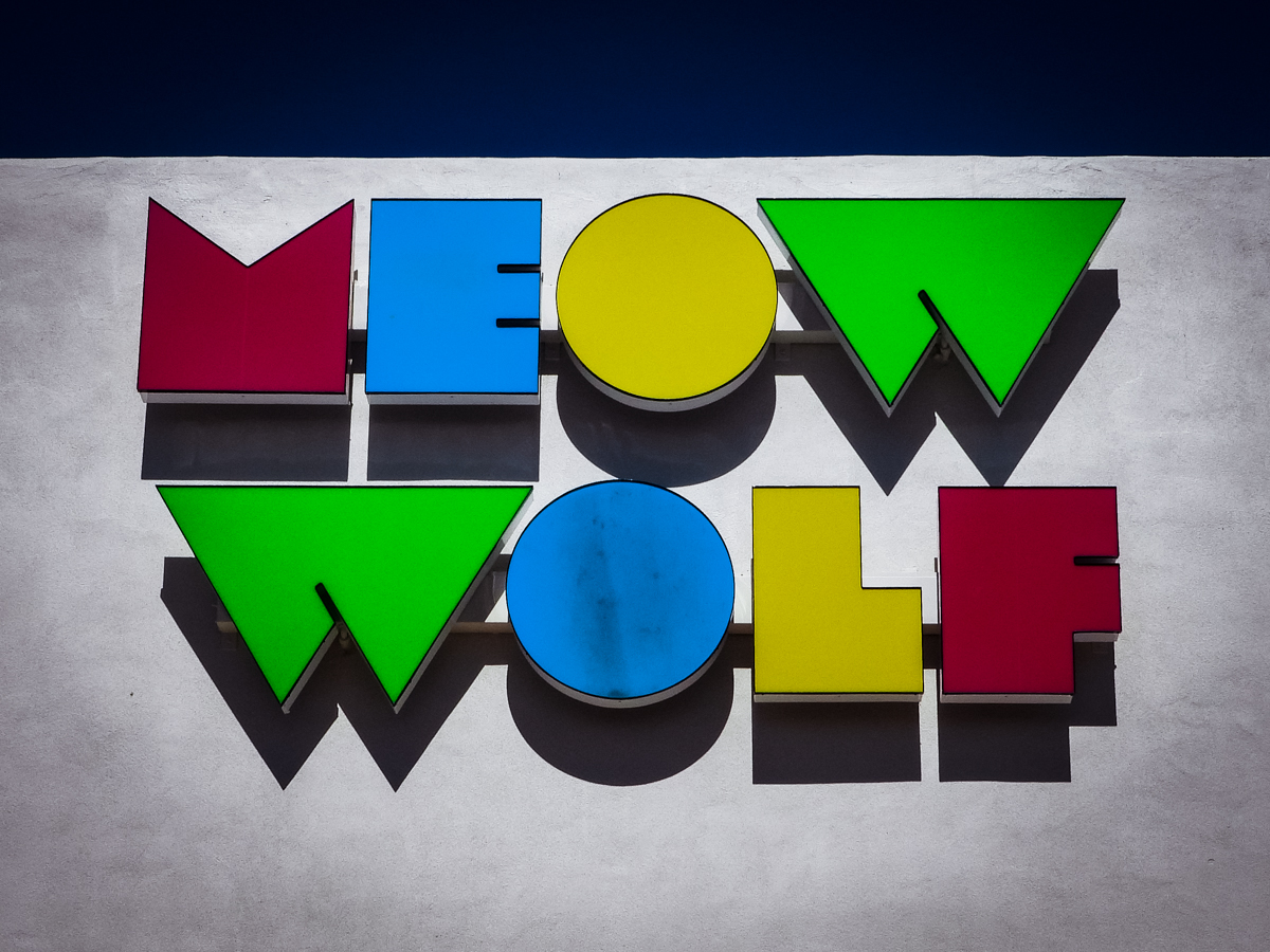 Meow Wolf building sign