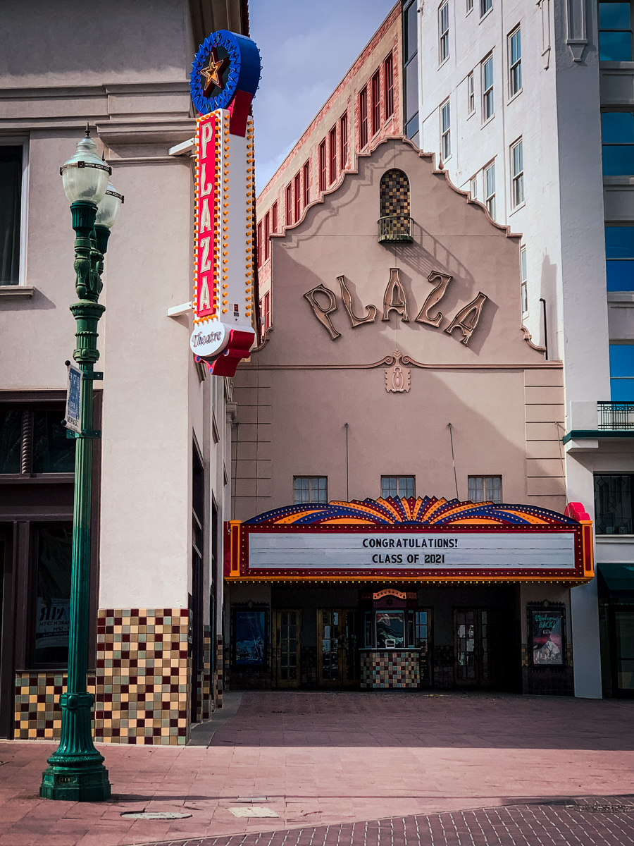 Plaza Theatre facade across the street from Hotel Paso Del Norte, the best of the best hotels in El Paso, TX