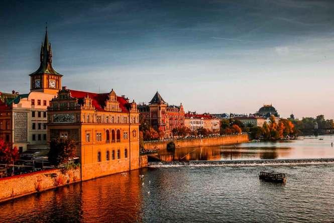 Sunset on the Prague riverfront