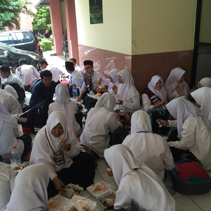 Islamic school children during lunch break