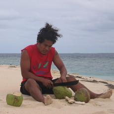 Fresh coconuts for cocktail hour on Uoleva