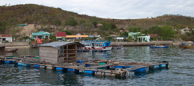 Floating fish farm in Nha Trang, Vietnam.