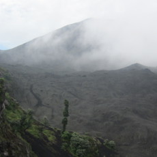 Cloud-covered Pacaya volcano