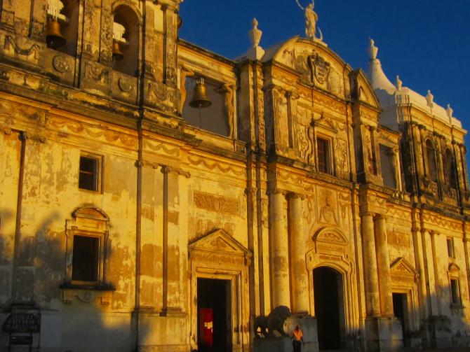 Leon's Cathedral at sunset