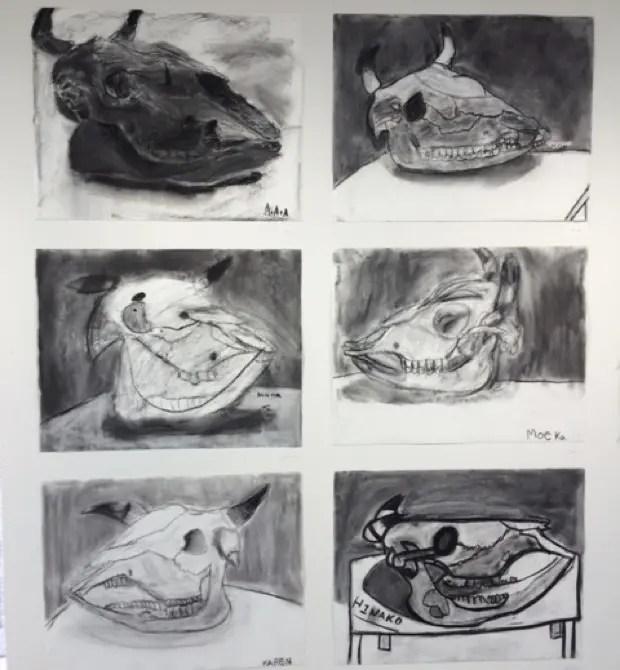 展覧会に飾られていた、牛骨頭部の木炭デッサン。