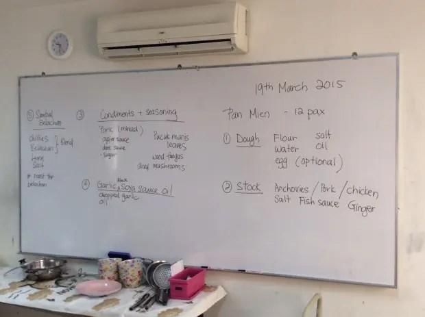 クッキングクラスで使用する食材一覧